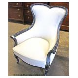 White Upholstered Mahogany Frame Carved Decorator Arm Chair  Auction Estimate $100-$200 – Located In