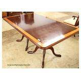 """Harden Furniture""  9 Piece Mahogany Banded and Inlaid Double Pedestal  Dining Room Table and 8 SOLI"