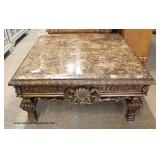 Contemporary Decorator Faux Marble Top Shell Carved Coffee Table  Auction Estimate $100-$200 – Locat