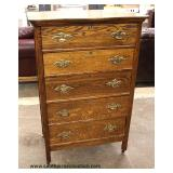 ANTIQUE Oak Paneled Side 5 Drawer High Chest  Auction Estimate $100-$200 – Located Inside