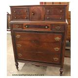 "Burl Walnut ""Grand Rapids Michigan Manufacturers Bldg."" Step Back High Chest  Auction Estimate $100-"