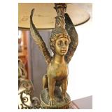 French Style Bronze Lady and Lion Base Porcelain Plate Top Table  Auction Estimate $200-$400 – Locat
