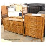 3 Piece Bedroom Set  Cherry French Provincial High Chest and Low Chest with Mirror  Auction Estimate