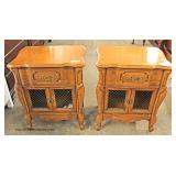 PAIR of Cherry French Provincial 1 Drawer 2 Door Night Stands  Auction Estimate $50-$100 – Located I