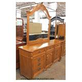"Contemporary Oak ""Stanley Furniture"" Low Chest with Mirror  Auction Estimate $100-$300 – Located Ins"