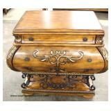 Contemporary Mahogany Finish 2 Drawer Carved Decorator Bombay Style Commode with Iron Decorative Bas