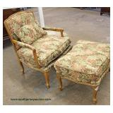 3 Piece Set  PAIR of Country French Style Upholstered Arm Chairs with Ottoman  Auction Estimate $100