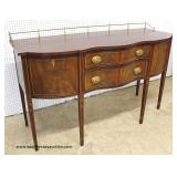 "-- ABSOLUTELY GORGEOUS –  ""Henkel Harris Furniture"" Burl Mahogany Serpentine Front Inlaid   with Bel"
