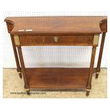 "NICE ""Baker Furniture"" Burl Mahogany Banded One Drawer  Two Tier Console Table with Applied Bronze D"