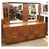 Mid Century Modern Walnut 3 Piece Headboard, Dresser with Mirror and Night Stand in the Brutus Styl