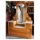 "Contemporary ""Lexington Furniture"" Victorian Style Oak Marble Top Style Dresser with Mirror  Auctio"