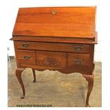 SOLID Cherry Queen Anne Slant Front Desk with Shell Carving  Auction Estimate $100-$300 – Located I