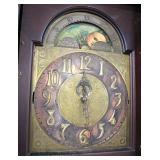 ANTIQUE Mahogany Tall Case Grandfather Clock with Brass Face and Moon and Sun Dial in Original Foun