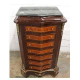 French Style Marble Top Mahogany Inlaid and Banded 7 Drawer Lingerie Chest with Applied Bronze  Auc