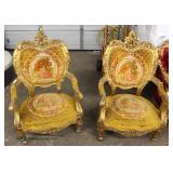 PAIR of French Style Highly Carved Gold Painted Frame Upholstered Arm Chairs  Auction Estimate $200