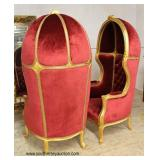 BEAUTIFUL PAIR of French Style Carved Gold Painted Red Upholstered Button Tufted Hooded Arm Chairs