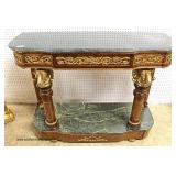— G O R G E O U S —  French Style Two Tier Marble TopBurl Mahogany Console with Bronze Rams Heads a