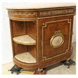 BEAUTIFUL French Style Burl Mahogany Banded and Inlaid Marble Top Credenza with Marble Top Shelves