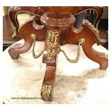 French Style Marble Top Burl Mahogany Banded and Inlaid 3 Drawer 2 Door Bronze Paw Feet and Applied