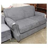 "NEW ""Distinctions Furniture"" Grey Suede Loveseat  Auction Estimate $200-$400 – Located Inside"