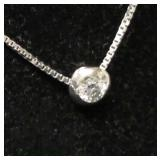 "14 Karat White Gold 18"" Necklace with .20 CTW Diamond Pendant  Auction Estimate $300- $500 – Locate"