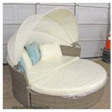 — The Opportunites are Crazy Here —  NEW Wicker 2 Piece Outdoor Day Bed with Retractable Canopy and
