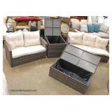 NEW 4 Piece All Weather All Season Wicker Lounge Set with Self Storing Table and Coffee Table for P