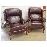 Great Pair of Hancock and Moore Style Reclining Leather Chairs with Queen Anne Carved Legs and Bras