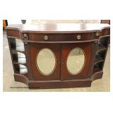 Mahogany Leather Top Oval Mirrored Door One Drawer 2 Door Credenza Auction Estimate $100-$300 – Loca