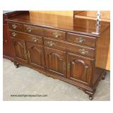 "SOLID Mahogany ""Ethan Allen Furniture"" 5 Drawer 4 Door Buffet Auction Estimate $200-$400 – Located I"