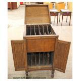 ANTIQUE Oak Music Cabinet Auction Estimate $100-$300 – Located Dock