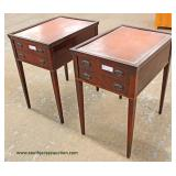 PAIR of Leather Top One Drawer Lamp Tables Auction Estimate $50-$100 – Located Inside
