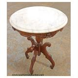 Walnut Victorian Carved Marble Top Parlor Table Auction Estimate $100-$200 – Located Inside
