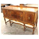 Walnut Two Tone 2 Drawer 2 Door Sideboard with Gallery Auction Estimate $100-$300 – Located Inside