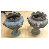 PAIR of ANTIQUE Lion and Ladies Head Cast Iron Planters Auction Estimate $