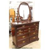"""Bassett Furniture"" 3 Piece Bedroom Set Mahogany Bracket Foot with Queen Size Poster Bed Auction Est"