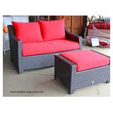 "NEW 2 Piece ""RST"" Rattan Resin Wicker Weather Resistant Loveseat and Ottoman with Cushions Auction E"