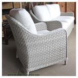 NEW 2 Piece Light Grey / White Rattan Resin Wicker All Weather Resistant Sofa and Chair with Cushion