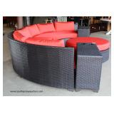 AWESOME NEW Rattan Resin Wicker 6 Piece Circular Sofa with Beverage Cup Holders and Round Ottoman wi