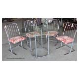 """Daystrom"" 5 Piece Modern Tubular Style Dining Set with Glass Top Chrome Base Table and 4 Chairs Auc"
