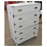NEW Contemporary White Campaign Style 5 Drawer High Chest Auction Estimate $100-$300 – Located Insid