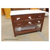"NEW Contemporary Mahogany Marble Top 48"" Bathroom Vanity Auction Estimate $200-$400 – Located Inside"
