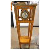 Burl Maple French Style Pedestal with Porcelain Medallion and Applied Bronze  Auction Estimate $200