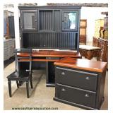 4 Piece Country Style Office Set  L-Shape Desk with Hutch Top, Chair and 2 Door Filing Cabinet  Loc