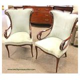 PAIR of VINTAGE SOLID Mahogany Frame Wing Chairs  Auction Estimate $200-$400 – Located Inside