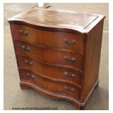 Mahogany Serpentine Leather Top Bachelor Chest  Auction Estimate $100-$300 – Located Inside