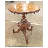 ANTIQUE Victorian Inlaid Lamp Table  Auction Estimate $100-$300 – Located Inside