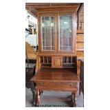 SOLID Oak 2 Piece Leaded Glass Secretary Bookcase by Ethan Allen  Auction Estimate $200-$400 – Loca