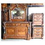 Contemporary 4 Piece King Size Bedroom Set with Marble Tops  Auction Estimate $300-$400 - Located Do