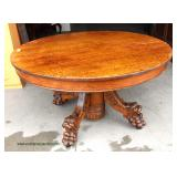 "ANTIQUE SOLID Top Oak 60"" Dining Room Table with Heavily Lion Head and Paw Feet attributed to Hastin"